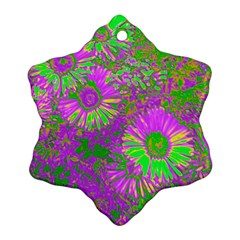 Amazing Neon Flowers A Snowflake Ornament (two Sides)