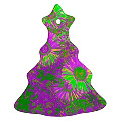 Amazing Neon Flowers A Christmas Tree Ornament (two Sides)