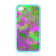 Amazing Neon Flowers A Apple Iphone 4 Case (color)