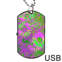 Amazing Neon Flowers A Dog Tag Usb Flash (one Side)