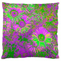 Amazing Neon Flowers A Large Cushion Case (two Sides)