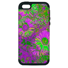 Amazing Neon Flowers A Apple Iphone 5 Hardshell Case (pc+silicone)
