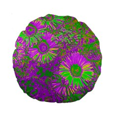 Amazing Neon Flowers A Standard 15  Premium Round Cushions