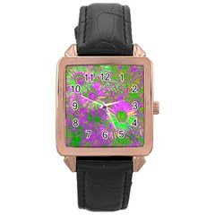 Amazing Neon Flowers A Rose Gold Leather Watch