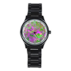 Amazing Neon Flowers A Stainless Steel Round Watch