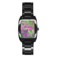 Amazing Neon Flowers A Stainless Steel Barrel Watch