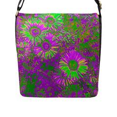 Amazing Neon Flowers A Flap Messenger Bag (l)