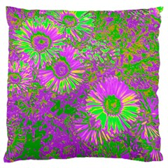 Amazing Neon Flowers A Large Flano Cushion Case (one Side)