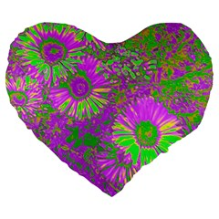 Amazing Neon Flowers A Large 19  Premium Flano Heart Shape Cushions