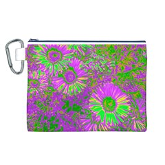 Amazing Neon Flowers A Canvas Cosmetic Bag (l)