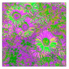 Amazing Neon Flowers A Large Satin Scarf (square)