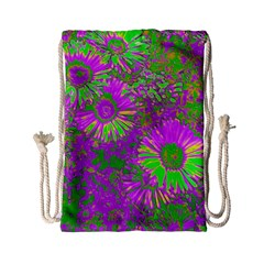 Amazing Neon Flowers A Drawstring Bag (small)