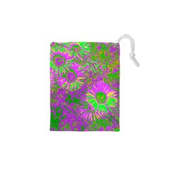 Amazing Neon Flowers A Drawstring Pouches (xs)