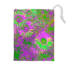 Amazing Neon Flowers A Drawstring Pouches (extra Large)