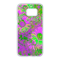 Amazing Neon Flowers A Samsung Galaxy S7 Edge White Seamless Case