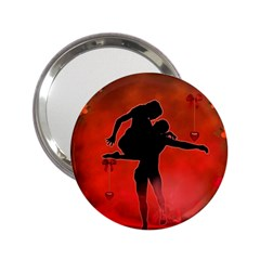 Dancing Couple On Red Background With Flowers And Hearts 2 25  Handbag Mirrors