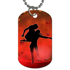 Dancing Couple On Red Background With Flowers And Hearts Dog Tag (two Sides)
