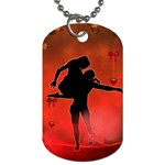 Dancing Couple On Red Background With Flowers And Hearts Dog Tag (Two Sides) Back
