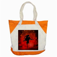 Dancing Couple On Red Background With Flowers And Hearts Accent Tote Bag