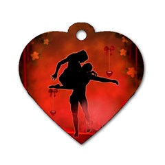 Dancing Couple On Red Background With Flowers And Hearts Dog Tag Heart (one Side)