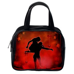 Dancing Couple On Red Background With Flowers And Hearts Classic Handbags (one Side)