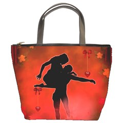 Dancing Couple On Red Background With Flowers And Hearts Bucket Bags