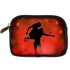 Dancing Couple On Red Background With Flowers And Hearts Digital Camera Cases