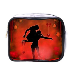 Dancing Couple On Red Background With Flowers And Hearts Mini Toiletries Bags