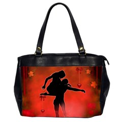 Dancing Couple On Red Background With Flowers And Hearts Office Handbags (2 Sides)