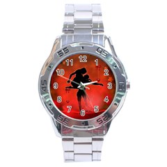 Dancing Couple On Red Background With Flowers And Hearts Stainless Steel Analogue Watch