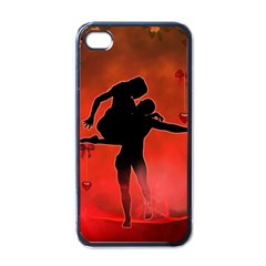 Dancing Couple On Red Background With Flowers And Hearts Apple Iphone 4 Case (black)