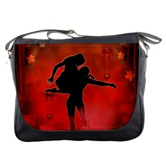 Dancing Couple On Red Background With Flowers And Hearts Messenger Bags