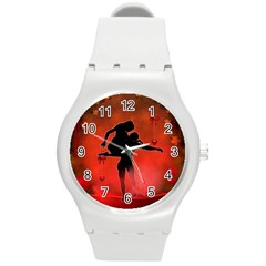 Dancing Couple On Red Background With Flowers And Hearts Round Plastic Sport Watch (m)