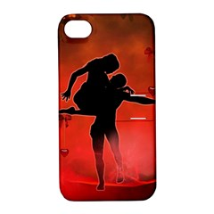 Dancing Couple On Red Background With Flowers And Hearts Apple Iphone 4/4s Hardshell Case With Stand