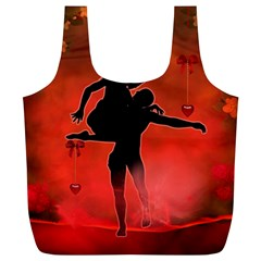 Dancing Couple On Red Background With Flowers And Hearts Full Print Recycle Bags (l)