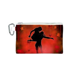 Dancing Couple On Red Background With Flowers And Hearts Canvas Cosmetic Bag (s)