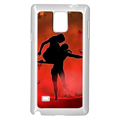 Dancing Couple On Red Background With Flowers And Hearts Samsung Galaxy Note 4 Case (white)