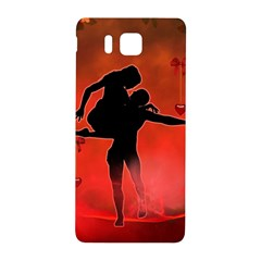 Dancing Couple On Red Background With Flowers And Hearts Samsung Galaxy Alpha Hardshell Back Case