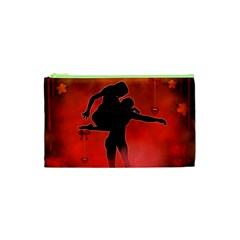 Dancing Couple On Red Background With Flowers And Hearts Cosmetic Bag (xs)