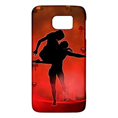 Dancing Couple On Red Background With Flowers And Hearts Galaxy S6