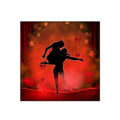 Dancing Couple On Red Background With Flowers And Hearts Satin Bandana Scarf