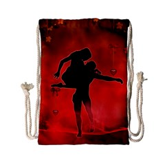 Dancing Couple On Red Background With Flowers And Hearts Drawstring Bag (small)