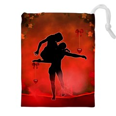 Dancing Couple On Red Background With Flowers And Hearts Drawstring Pouches (xxl)