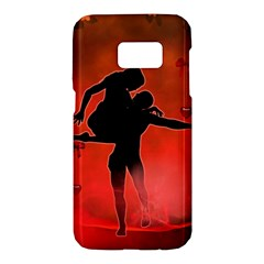Dancing Couple On Red Background With Flowers And Hearts Samsung Galaxy S7 Hardshell Case