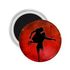 Dancing Couple On Red Background With Flowers And Hearts 2 25  Magnets