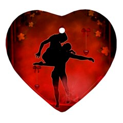 Dancing Couple On Red Background With Flowers And Hearts Ornament (heart)