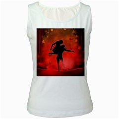 Dancing Couple On Red Background With Flowers And Hearts Women s White Tank Top