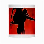 Dancing Couple On Red Background With Flowers And Hearts White Mugs Center