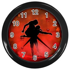 Dancing Couple On Red Background With Flowers And Hearts Wall Clocks (black)
