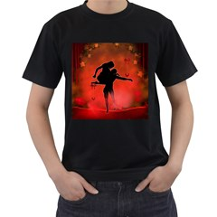 Dancing Couple On Red Background With Flowers And Hearts Men s T Shirt (black) (two Sided)